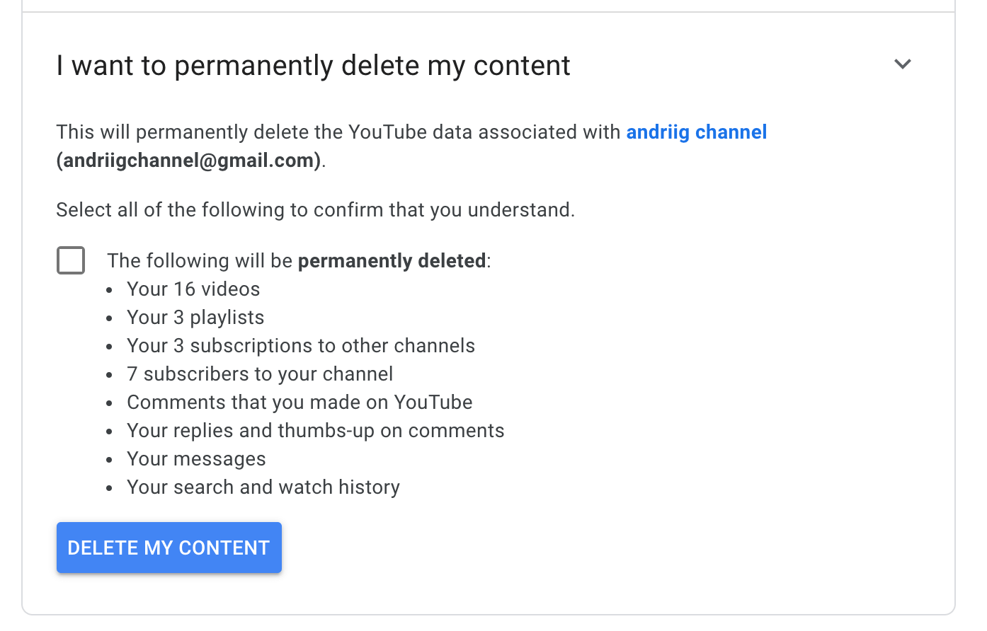 how to permanently delete youtube channel